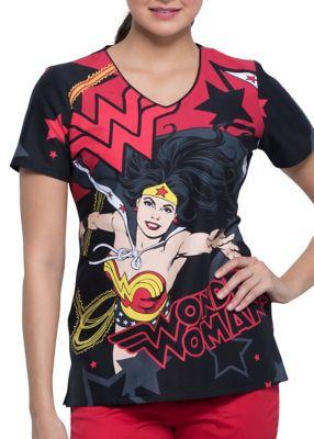 Wonder Power V-Neck Print Top