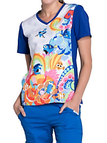Finding Nemo Fluent In Whale V-Neck Print Top