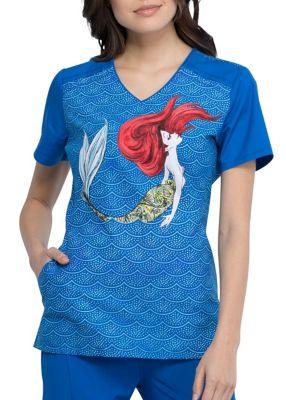 Mermaid Life V-Neck Print Top