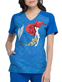 Mermaid Life V-Neck Print Top
