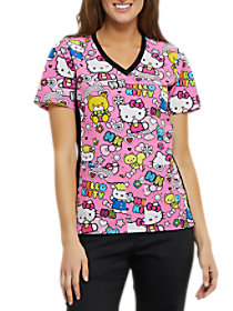 Color Me Hello Kitty V-Neck Print Top
