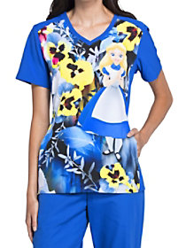 Alice's Garden Party V-Neck Print Top