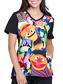 Bert and Ernie V-Neck Print Top