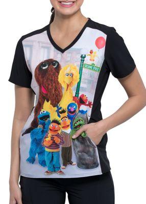 Sesame Street Friends V-Neck Print Top