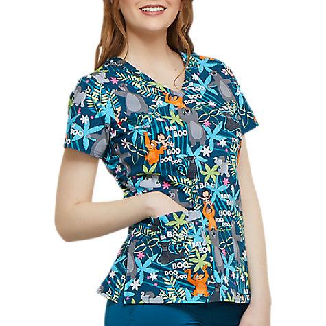 0d8e2e042b7 Cherokee Tooniforms Jungle Jazz V-neck Print Scrub Tops   Uniform City