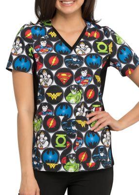DC Comics Superhero V-Neck Print Top
