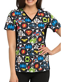 DC Comics Superhero V-Neck Print Top