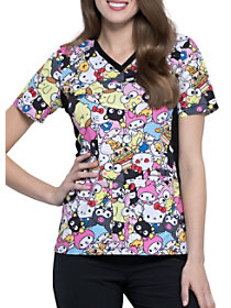 Hello Kitty Gang's All Here V-Neck Print Top