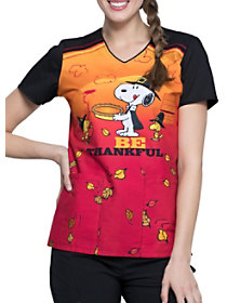 Snoopy Thanksgiving V-Neck Print Top