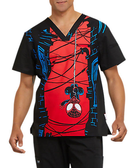 56c519d07d4 Cherokee Tooniforms Men's Let's Hang V-neck Print Scrub Tops | Scrubs &  Beyond
