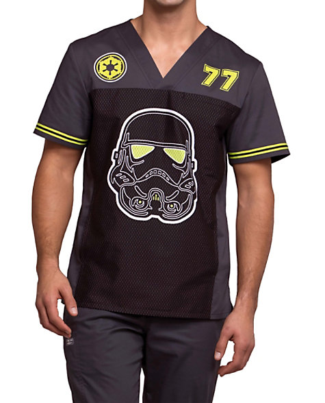 79c5006b8fe Cherokee Tooniforms Men's Trooper V-neck Print Scrub Tops | Scrubs & Beyond