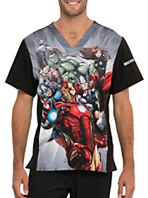 Suit Up Superhero V-Neck Print Top