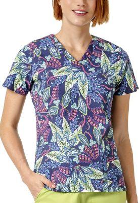 Batik Leaves Blue V-Neck Print Top