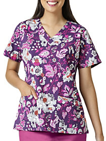 Leafy Blossoms V-Neck Print Top