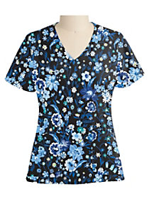 Moonlight Garden Black Print Top