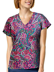 Mosaic Paisley White V-Neck Print Top