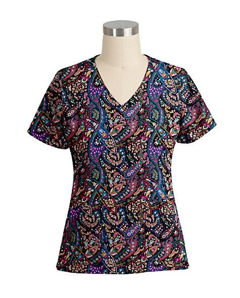 d446a49c60f2 Vera Bradley Halo Petite Paisley Black V-neck Print Scrub Tops ...
