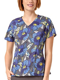 Vintage Floral Blues V-Neck Print Top