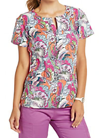 Autumn Leaves V-Neck Print Top