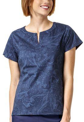 Batik Leaves Tonal Blue Notch Neck Print Top