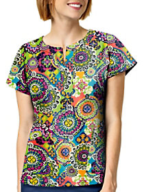 Rio Medallion Notch Neck Print Top