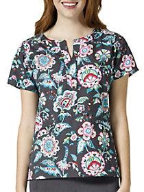 Stitched Floral Pewter V-Neck Print Top
