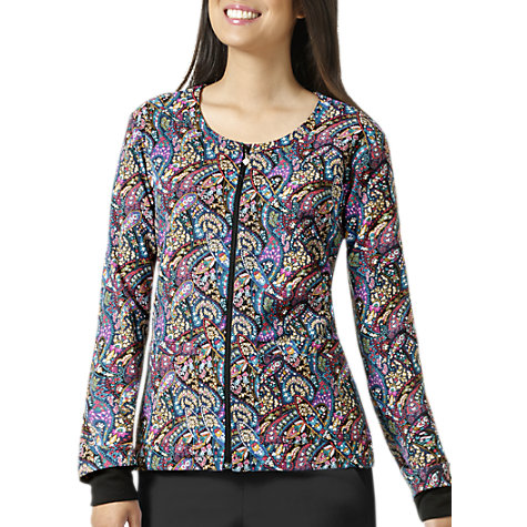 528bda597b63 Vera Bradley Halo Petite Paisley Black Print Scrub Jacket