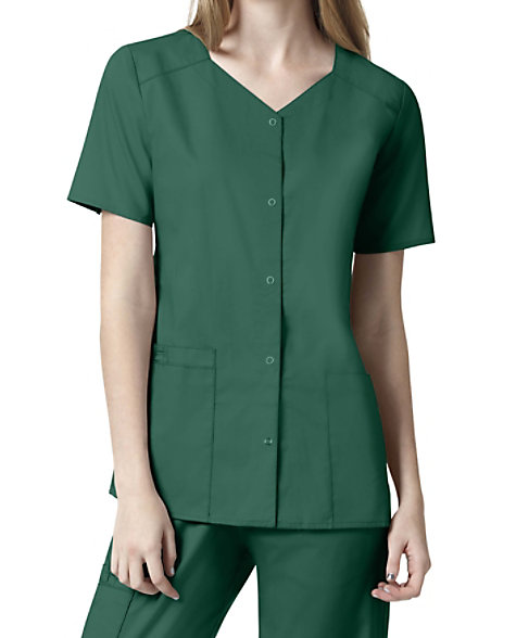 c8fcf7fc37e WonderWORK womens short sleeve snap front scrub top. | Scrubs & Beyond