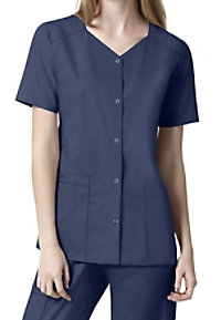 WonderWork Short Sleeve Snap Front Scrub Tops