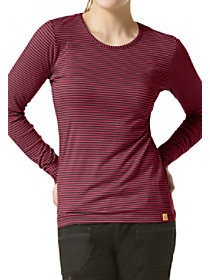 Long Sleeve Striped Scrub Tee