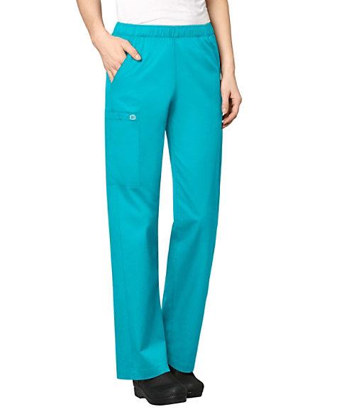 90d8e255745e WonderWORK womens elastic waist cargo scrub pant.