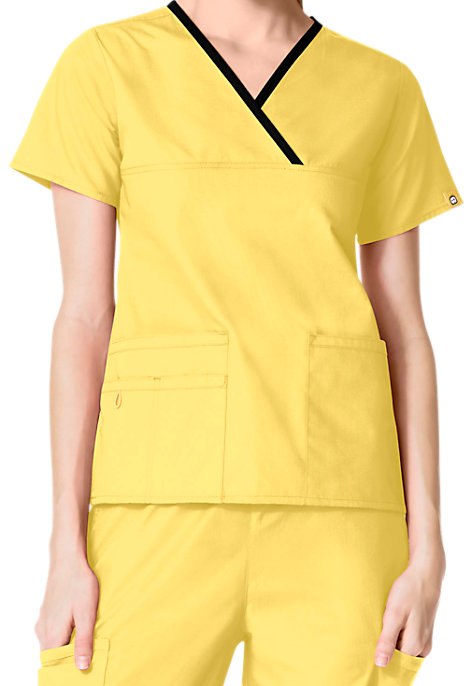 WonderWink Origins Charlie Y-neck Contrast Trim Scrub Tops ...