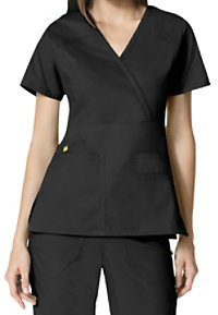 WonderWink Utility Girl Mock Wrap Multi Pocket Scrub Tops