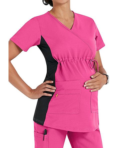 367ea3fd2df59 WonderWink Maternity Stretch Mock Wrap Scrub Tops   Scrubs & Beyond