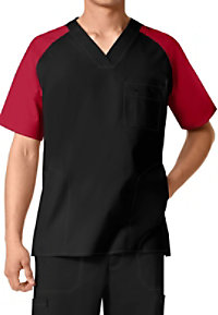 WonderFlex Men's Color Block V-neck Scrub Tops