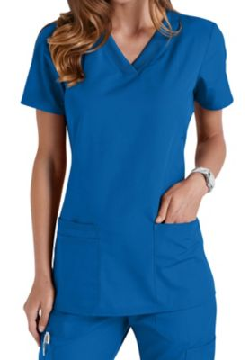 Cherokee Workwear V-neck Knit Panel Scrub Tops
