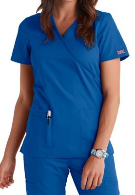 Cherokee Workwear Mock Wrap Scrub Tops