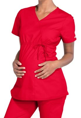 Cherokee Workwear Professionals Maternity Mock Wrap Scrub Tops
