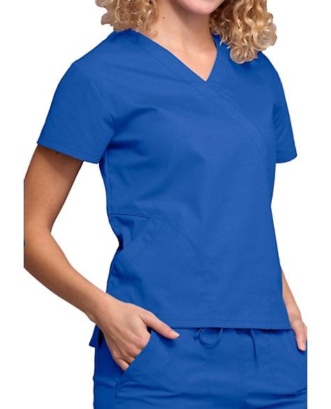 24304da1597 Cherokee Workwear Professionals Mock Wrap Scrub Tops With Hidden Pockets |  Scrubs & Beyond