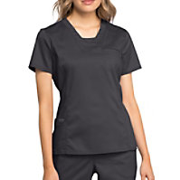 Cherokee Workwear Revolution V-neck Top With Knit Contrast