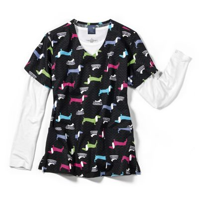 Doxie V-Neck Print Top