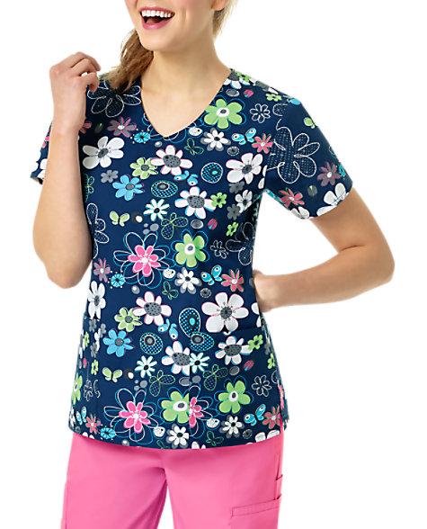 d1e54bd1e Zoe + Chloe Spring Field Navy V-neck Print Scrub Tops