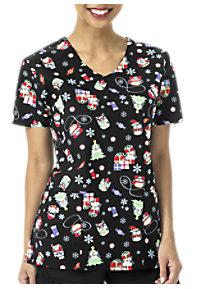see details item z12202hl zoe chloe happy owliday christmas v neck print scrub tops