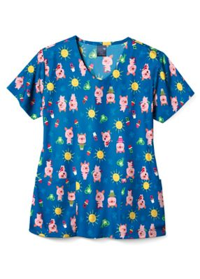 This Little Piggy V-Neck Print Top