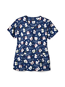 Super Tooth V-Neck Print Top