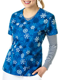 Snowfall Winter V-Neck Print Top