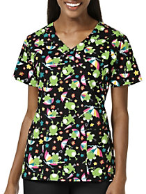 Frog Day Mock Wrap Print Top