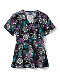 Floral Medallion Mock Wrap Print Top