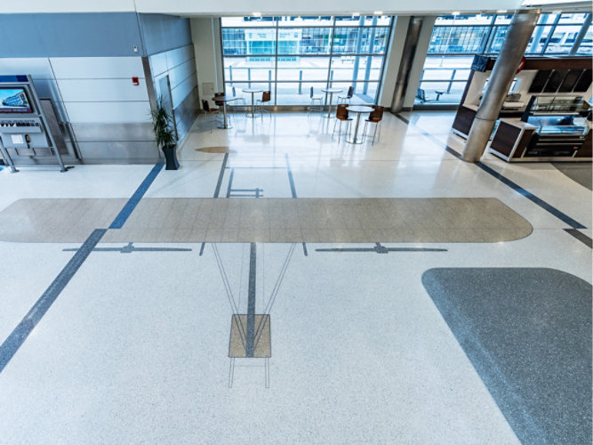 Terrazzo Floor in Atrium at Rocket Mortgage FieldHouse