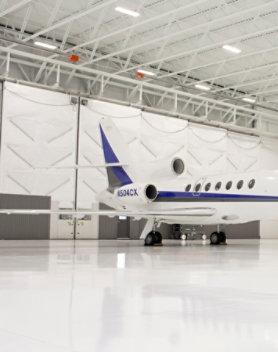 airplane in an aircraft hangar